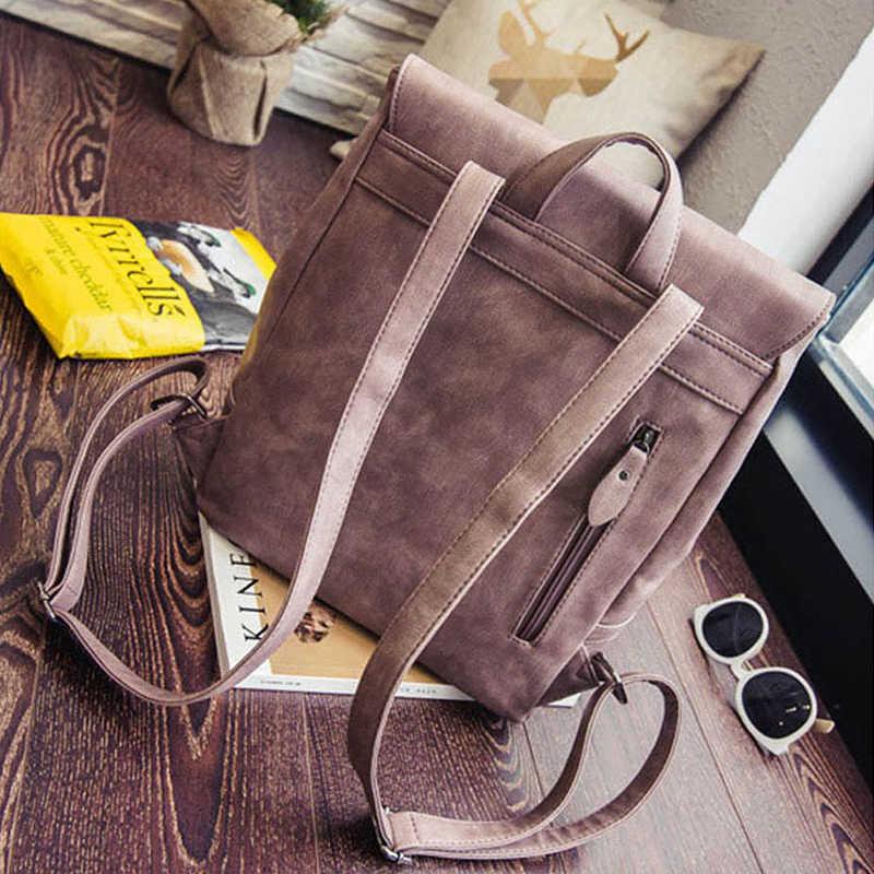 Модные Стиль женский рюкзак твердый Цвет школьные сумки для девочек-подростков Винтаж из искусственной кожи Сумка Розовый Повседневное рюкзак
