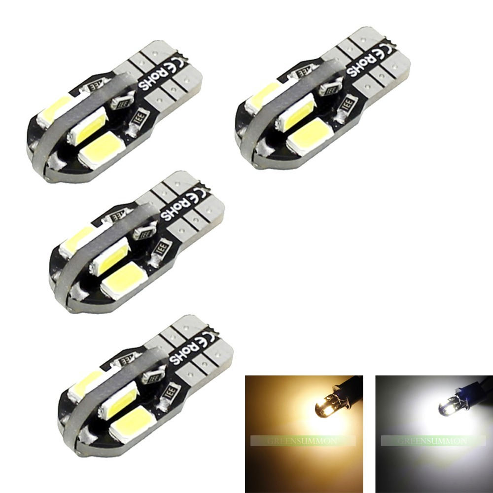 Wholesale 4pcs/Lot T10 LED Canbus 8 smd 5630 5730 car Light NO OBC ERROR W5W 194 SMD Auto Led Bulb ambe 12V wholesale 10pcs lot canbus t10 5smd 5050 led canbus light w5w led canbus 194 t10 5led smd error free white light car styling