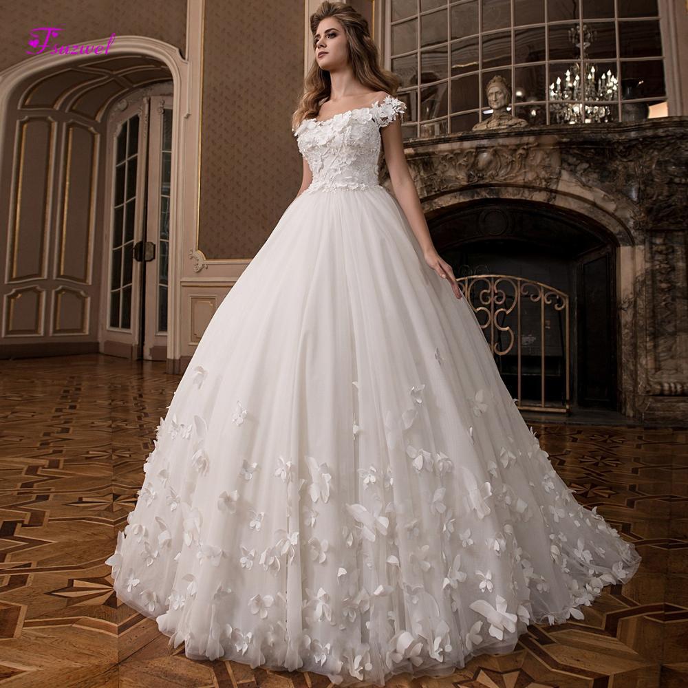 Fsuzwel Romantic Scoop Neck Lace Up Flowers Ball Gown Wedding Dresses 2019 Luxury Appliques Beaded Princess Bride Gown Plus Size