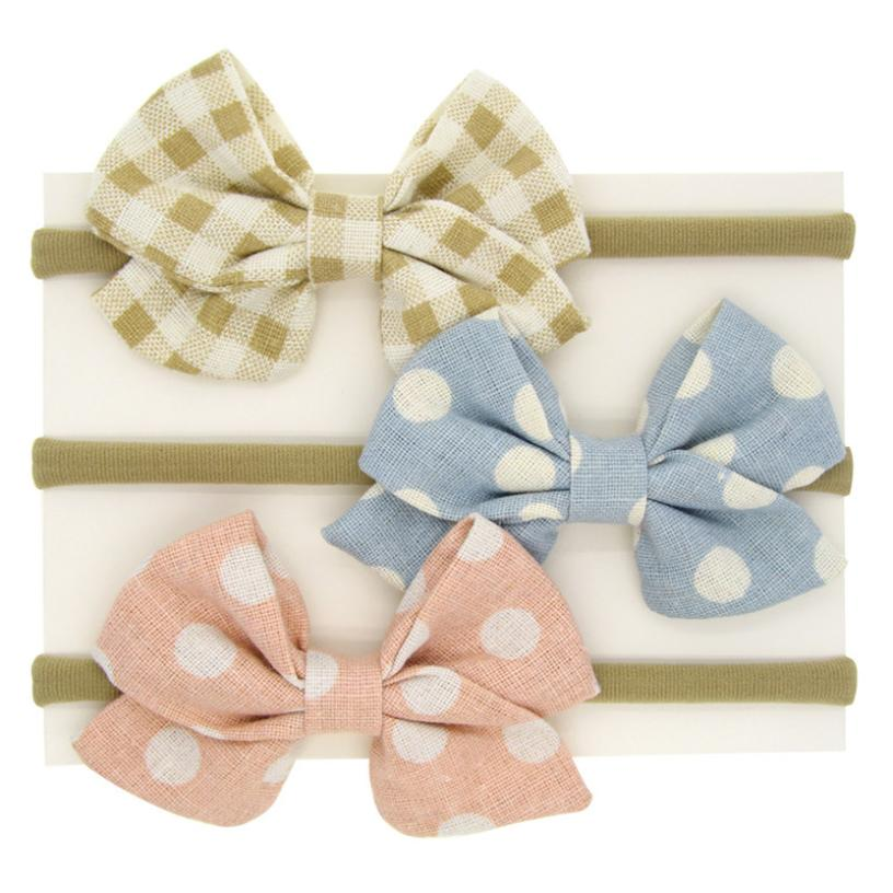 BMF TELOTUNY Fashion 1PC Baby Girls Kids Linen Dot Head Accessories  Hairband Baby Printed Bow Hairband Apr4 2019