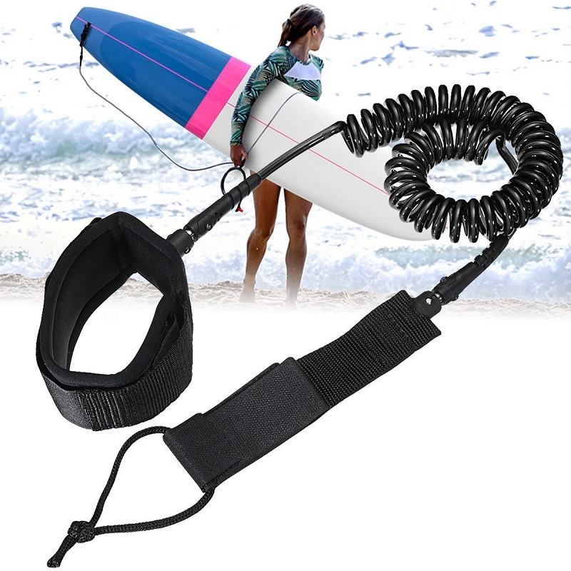 10ft 7mm SUP Ankle Leash Surfboard Coiled Stand UP Paddle Board TPU paddle board rope surfing accessory image