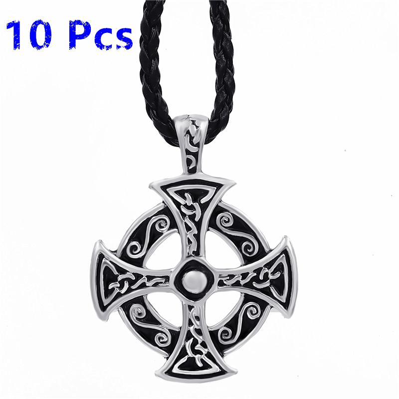 Wholesale 10 Pcs Men's Boy's Silver Celtic Solar Cross Pewter Pendant with 24 Choker Necklace WLP235 cross alloy choker necklace