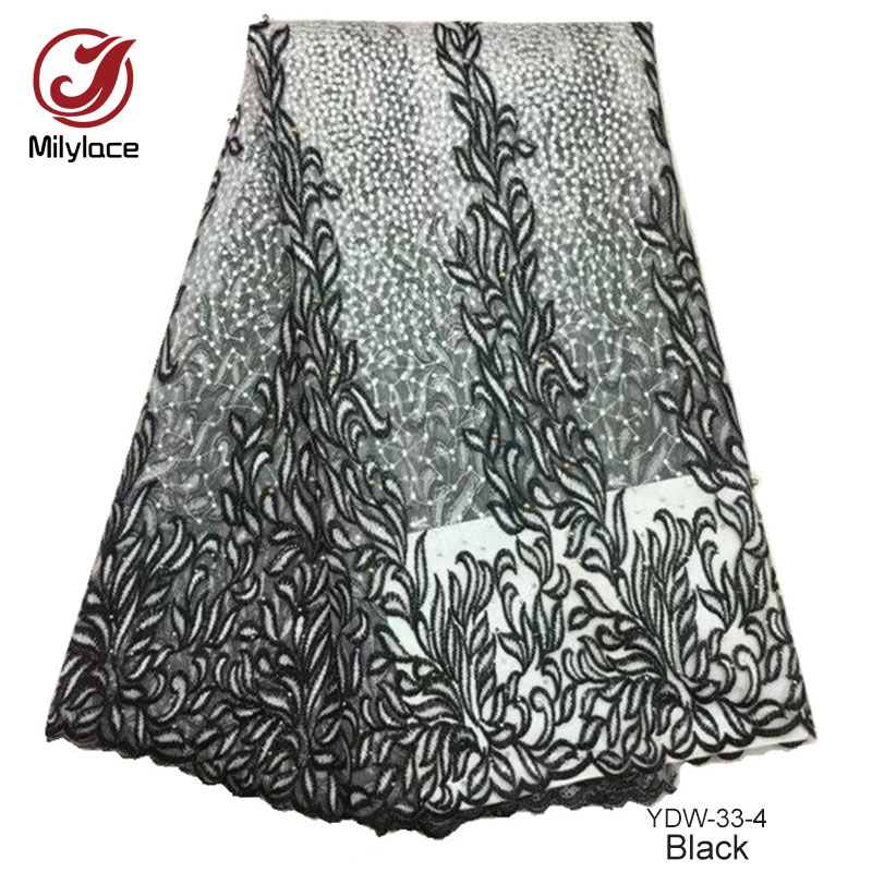Professional Sale White And Black Tulle Lace Fabric With Beads 5 Yards Per Lot Mesh French Lace Fabric Luxurious Design Lace Dubai Ydw-33 Lace