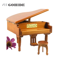 JUH Fashion Design Solid Wooden Piano Music Box Musical Gift Lovely Creative Design Music Box with Piano Style Gift for Girls