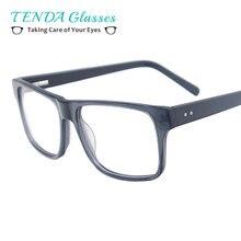 Quadrado Acetato Aro Completo Homens Armação de óculos Com Dobradiça de  Mola Para Prescrição de Lentes multifocais 99fab54fe2
