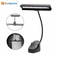 LumiParty High Power 9 LEDs Flexible Clip On Music Stand Clamp Night Light Bed Table Desk