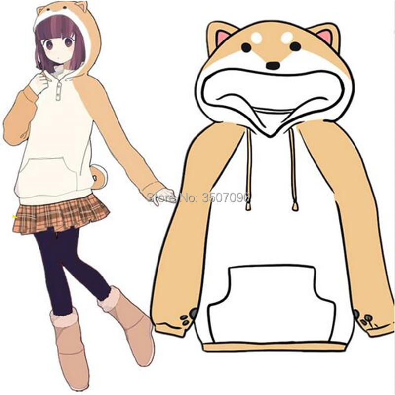 Japanese Shiba Inu Doge Hoodies Women Mens Cosplay Sweatshirt With Ears Lolita Girls Muco Winter Plush Soft Pullover Anime Tops