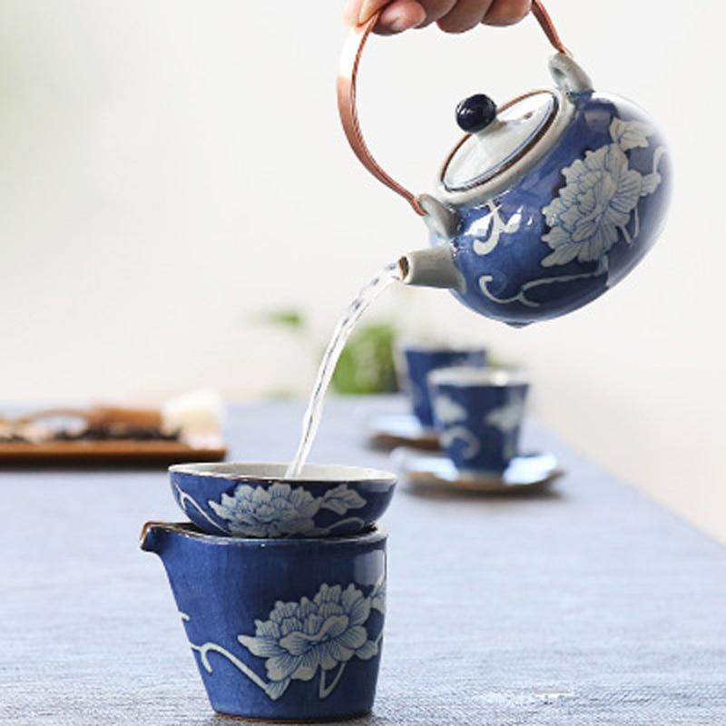 Керамика ручка горшок японском стиле керамики античный голубой и белый фарфор Ручная роспись кунг-фу Чай набор бытовой чай горшок