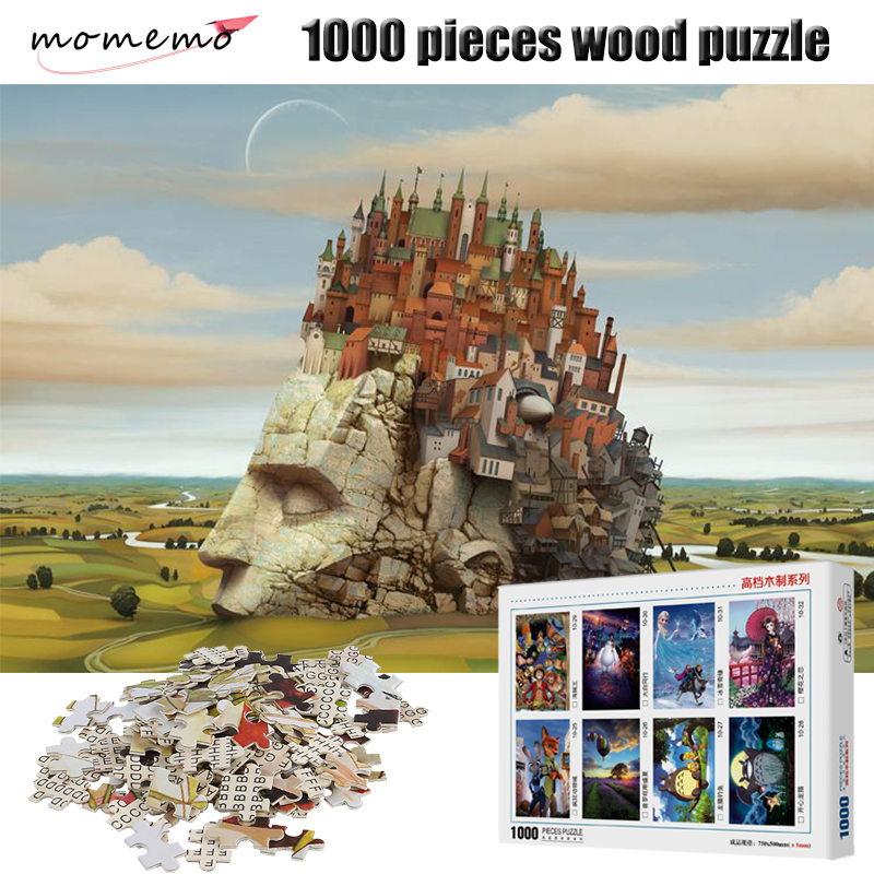 MOMEMO The House Jigsaw Puzzle 1000 Pieces Wooden Landscape Puzzle Adult Entertainment Assembling Toys Children Gift Box Packing