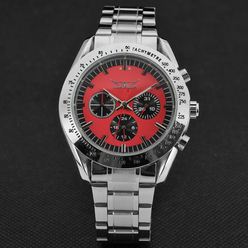 JARGAR Automatic Mechanical Watches Full Stainless Steel Skeleton Three Dial Design Mens Luxury Business Clock Relojes