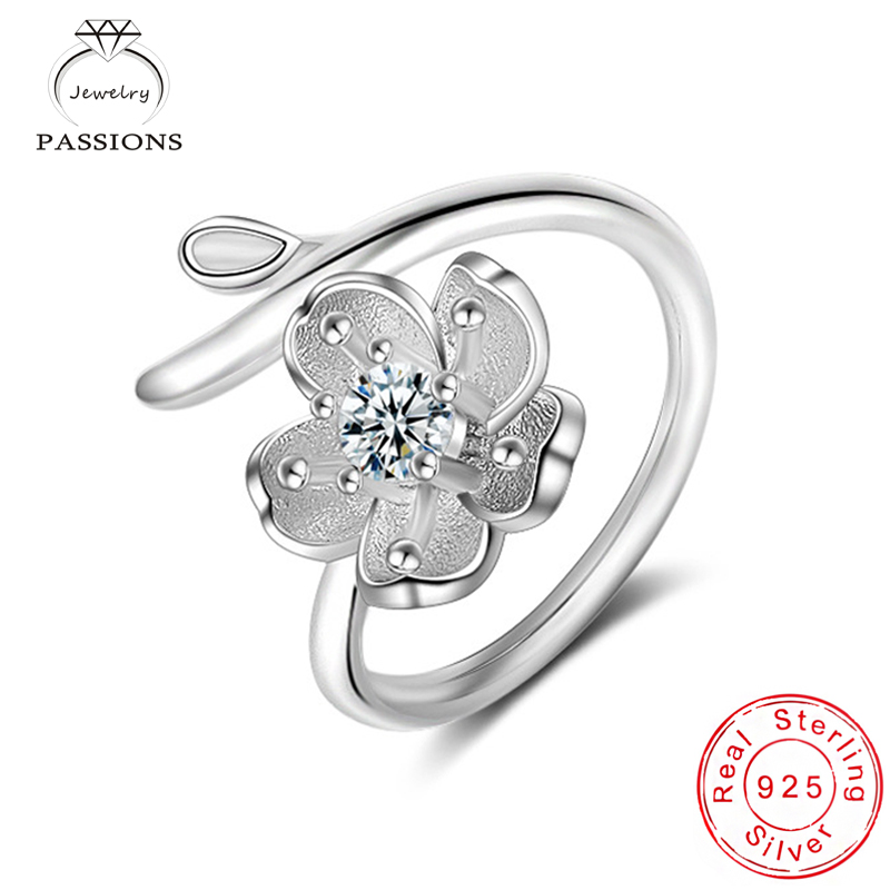 Hot Sale Fashion 925 Silver Plate Flowers Rings Open Wide Adjustable Ring Sakura Pendant CZ Ring Jewelry For Women Bague Anillos