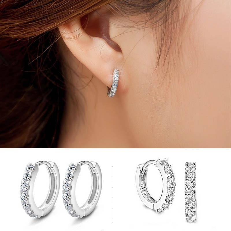 LNRRABC Hot Euramerican Silvery Huggies Earrings Small Round Hoop Earrings Women 39 s Hot Fashion Jewelry Shiny Gift p13 in Hoop Earrings from Jewelry amp Accessories