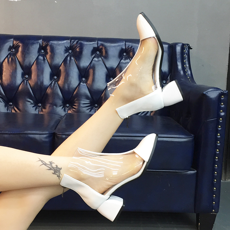 WETKISS Genuine Leather Transparent Women Boots Fashion Casual High Heels Shoes Lady Square Toe Pvc Footwear 2019 New Boot