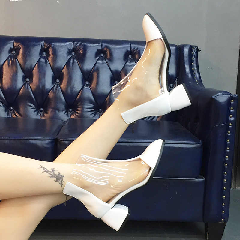 WETKISS/прозрачные женские ботинки из натуральной кожи; модная повседневная обувь на высоком каблуке; женская обувь из ПВХ с квадратным носком; Новинка 2019 года