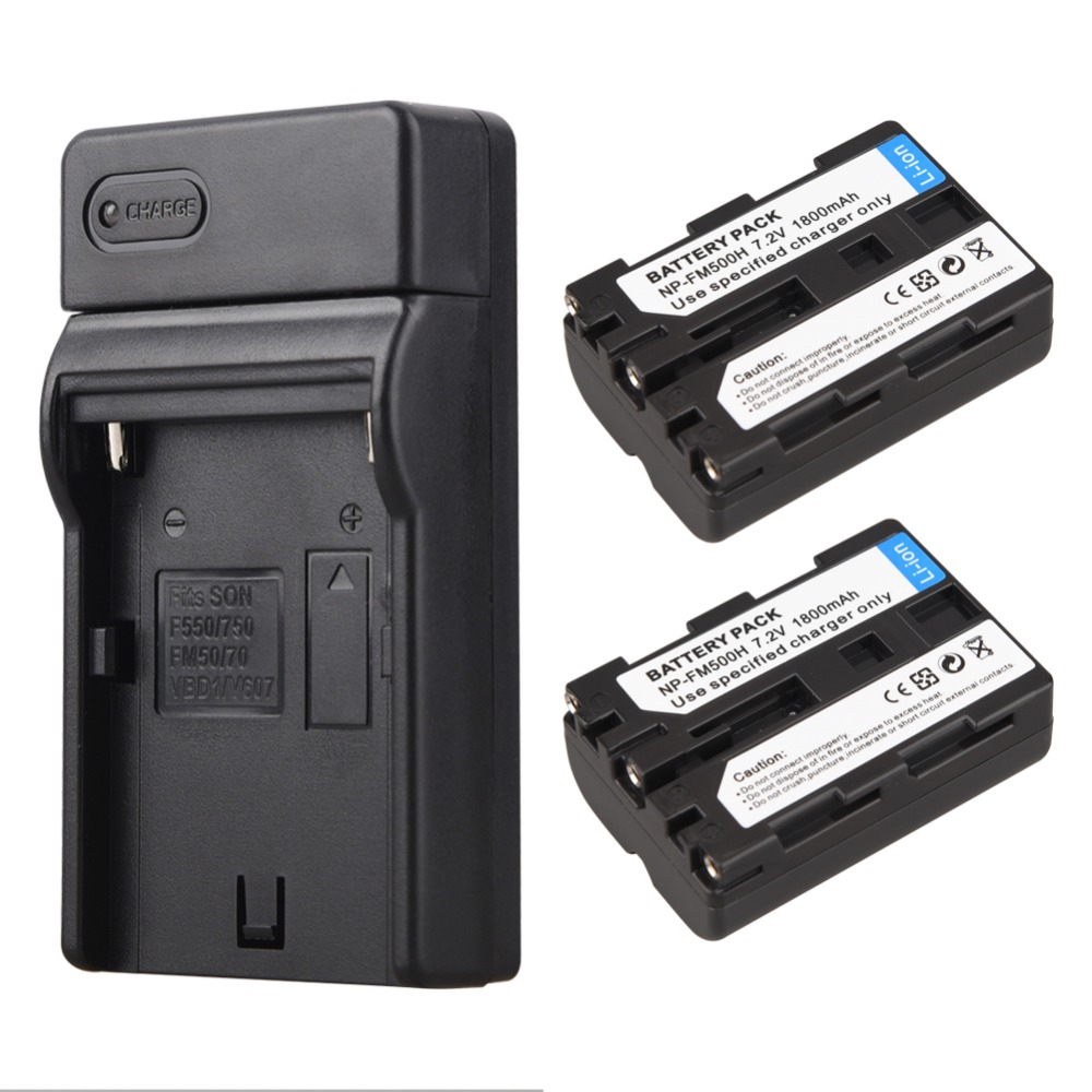 2 x 1800mAh NP-FM500H NP FM500H Camera Battery + Charger For Sony A57 A58 A65 A77 A99 A550 A560 A580 NP-FM500H аккумулятор fujimi np fm500h