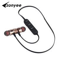 Metal Magnetic Bluetooth Earphone Sports Running SweatProof Headphone Magnetic Earbud Stereo CSR4 1 Wireless Headset For