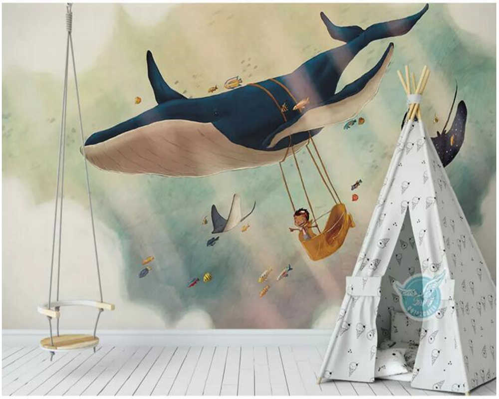 Customized kids bedroom wallpaper, creative sky whale murals for living room sofa background home decor papeles de paredes