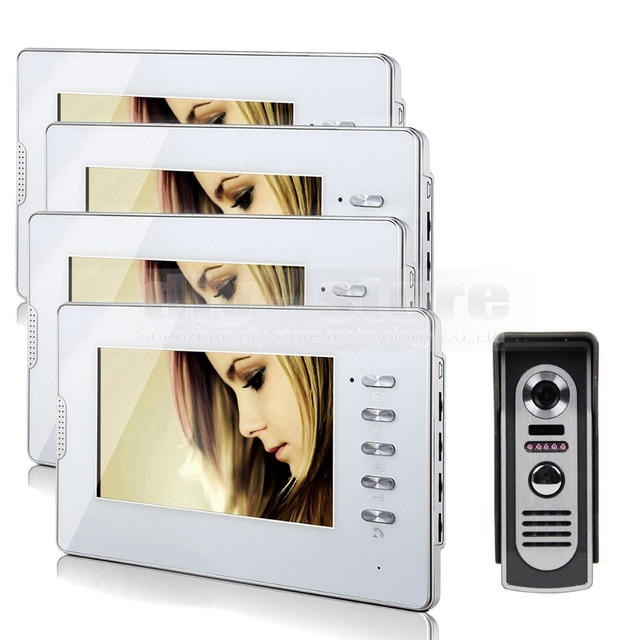 "DIYSECUR 7"" Video Door Phone Intercom System 1Camera + 4 Monitors for Villa Home 4 Rooms"