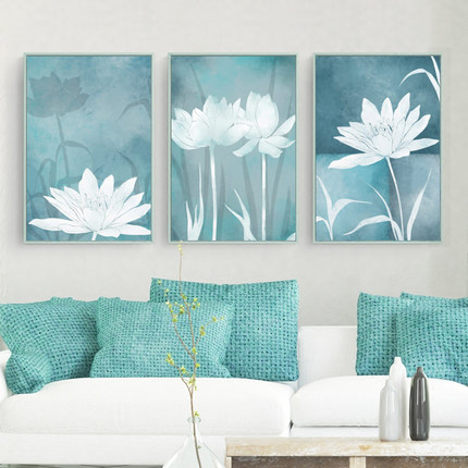 5D Chinese Style Diamond Painting Full Drill Living Room Triptych LotusSimple modern Fresh Diamond Embroidery Diy