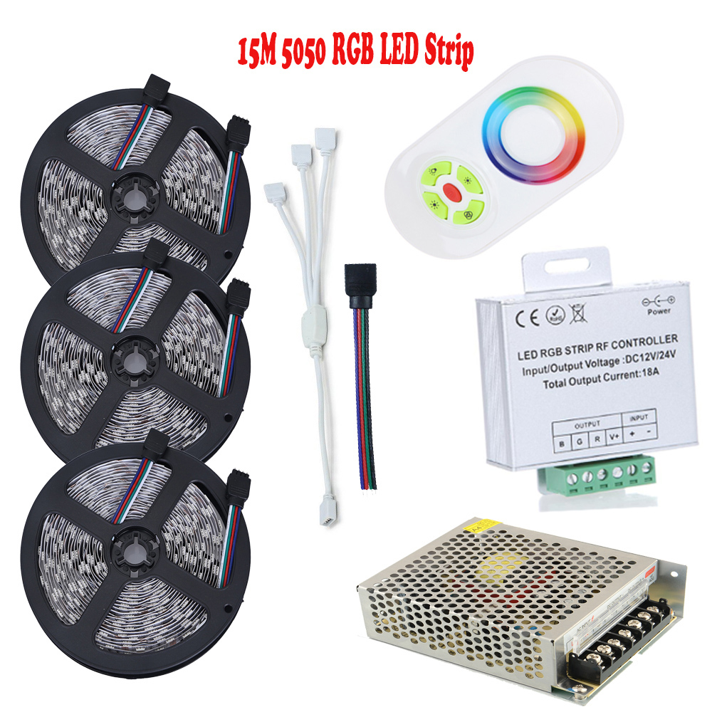 15M LED Strip 5050 RGB Waterproof LED Light Flexible Tape With RF Touch Remote 18A RGB Controller AC/DC LED Power Supply подвесная люстра lightstar cigno collo 751122
