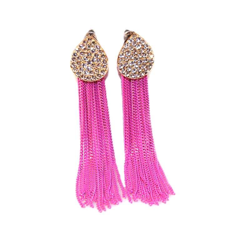 Long Earrings For Women Bijoux Rose Black Blue Metal Tassel Earrings New Fashion Jewelry wholesale Cute