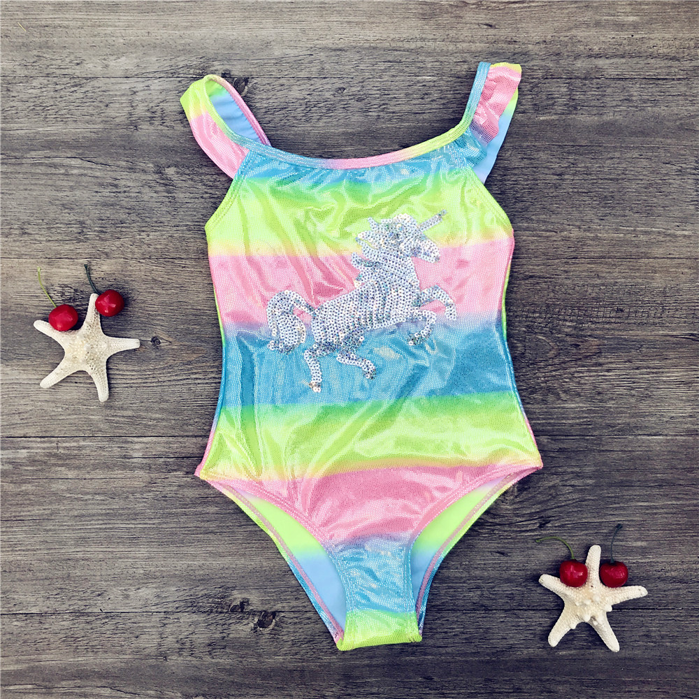 Unicorn children swimwear rainbow print girls one piece children swimsuits girls swimsuit kids bathing suit 3-8 years Sequins 21(China)