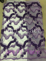 vip001 heavy pearls 3d flower stone purple french embroidery tulle mesh lace for evening dress/sawing/wedding