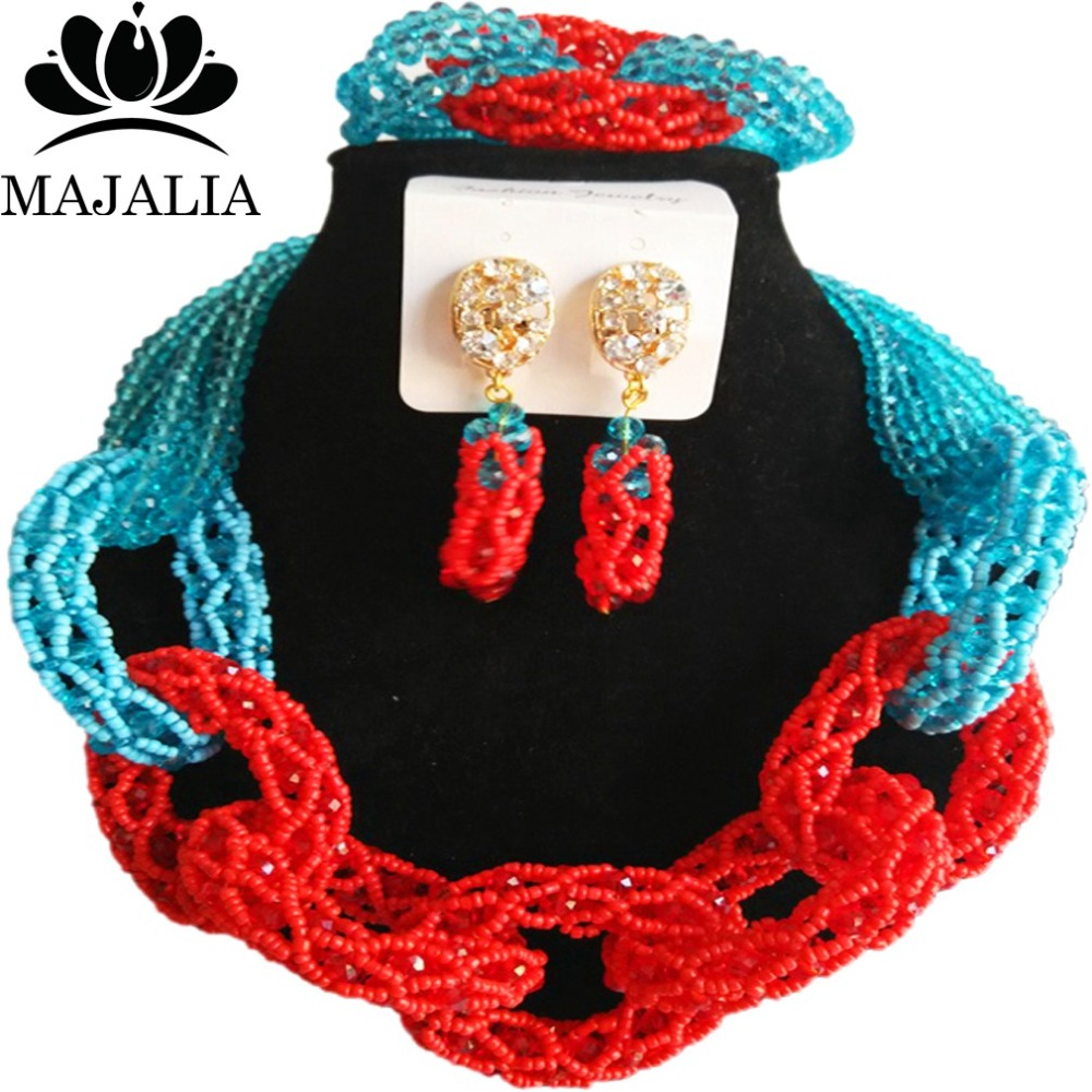 Majalia New Fashion Nigerian Wedding African Jewelery Set Lake blue and Red Crystal Necklace Bridal Jewelry Set 2RF003Majalia New Fashion Nigerian Wedding African Jewelery Set Lake blue and Red Crystal Necklace Bridal Jewelry Set 2RF003