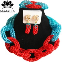 Majalia New Fashion Nigerian Wedding African Jewelery Set Lake blue and Red Crystal Necklace Bridal Jewelry Set 2RF003