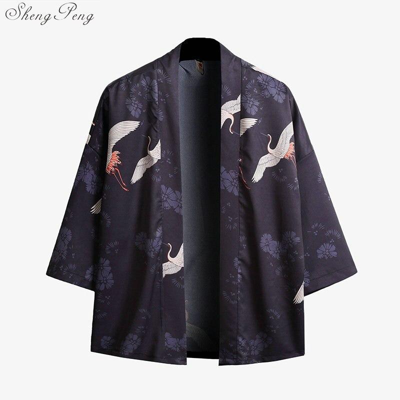 Japanese Kimono Cardigan Men Samurai Costume Male Mens Kimono Shirt Jacket Japanese Yukata Haori V1416