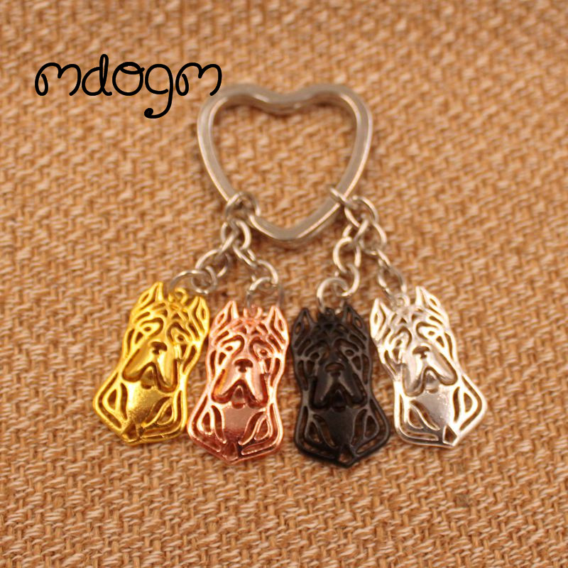 2018 Cute Cane Corso Dog Animal Gold Silver Plated Metal Pendant Keychain For Bag Car Women Men Key Ring Love Jewelry K078