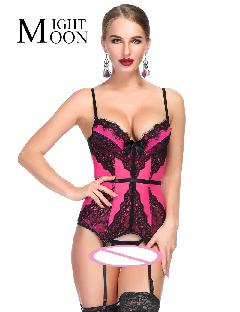 MOONIGHT Mesh Floral Lace Spaghetti Straps Plastic Bone Elastic Chemise   Bustier     Corset   Women's Charming Rosered   Corset