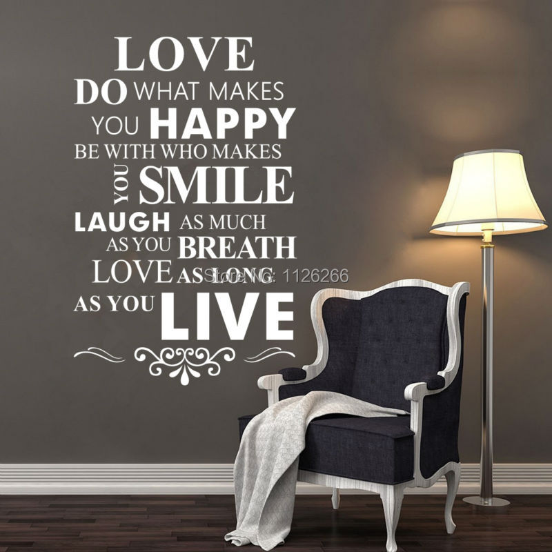 Love Do What Makes You Happy Wall Lettering Stickers Inspirational Quotes Sayings Art HomeRoom Wall Decor Decals image