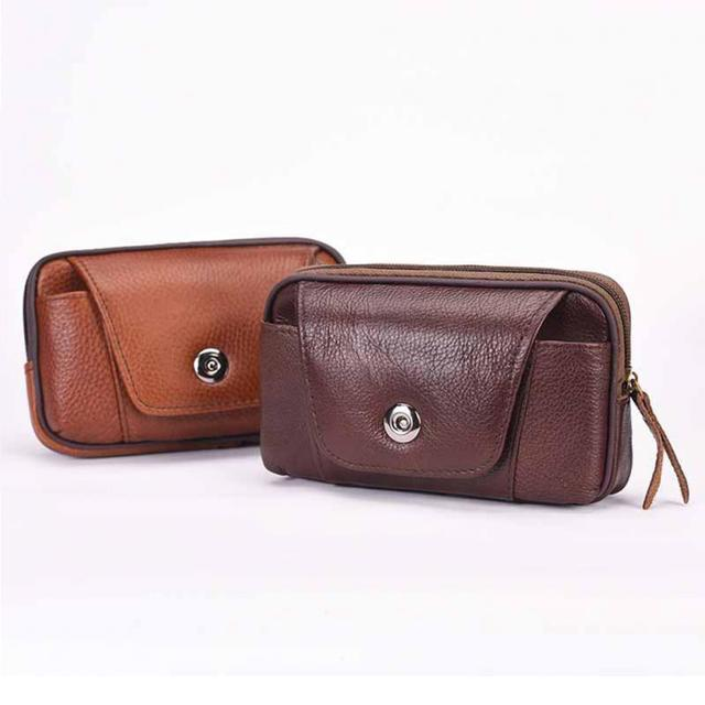 6337816eb Men Business PU Leather Waist Packs Portable Solid Fanny Pack Casual  Waterproof Travel Belt Bag Small Phone Pouch Bags