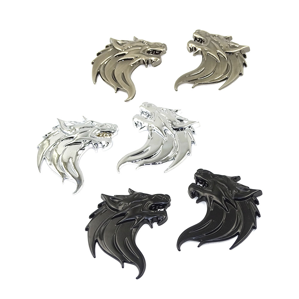 Wolf Wolverene Head 100% 3D Metal Car Auto Motorcycle Logo Emblem Badge Sticker DIY NEW Gun Silver Bronze 3 Colors Car-Styling customized badge holder lanyard company logo print personalized lanyard printing badge accessories