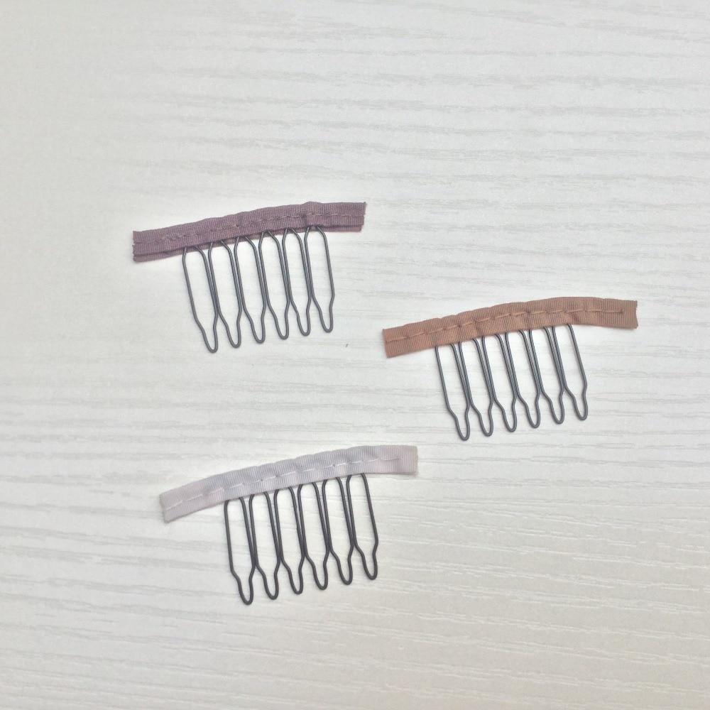 가발 액세서리, 머리 가발 모자 빗 및 클립 가발 모자, 3 색, 밝은 갈색, 보라색 갈색, 흰색, 6 teeth30pcs / Lot, 무료 배송