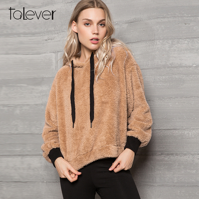 Women 2018 Autumn Winter Warm Hoodies Sweatshirt Female Casual Long Sleeve Plush Pullover Hooded Top Plus Size Coats Talever