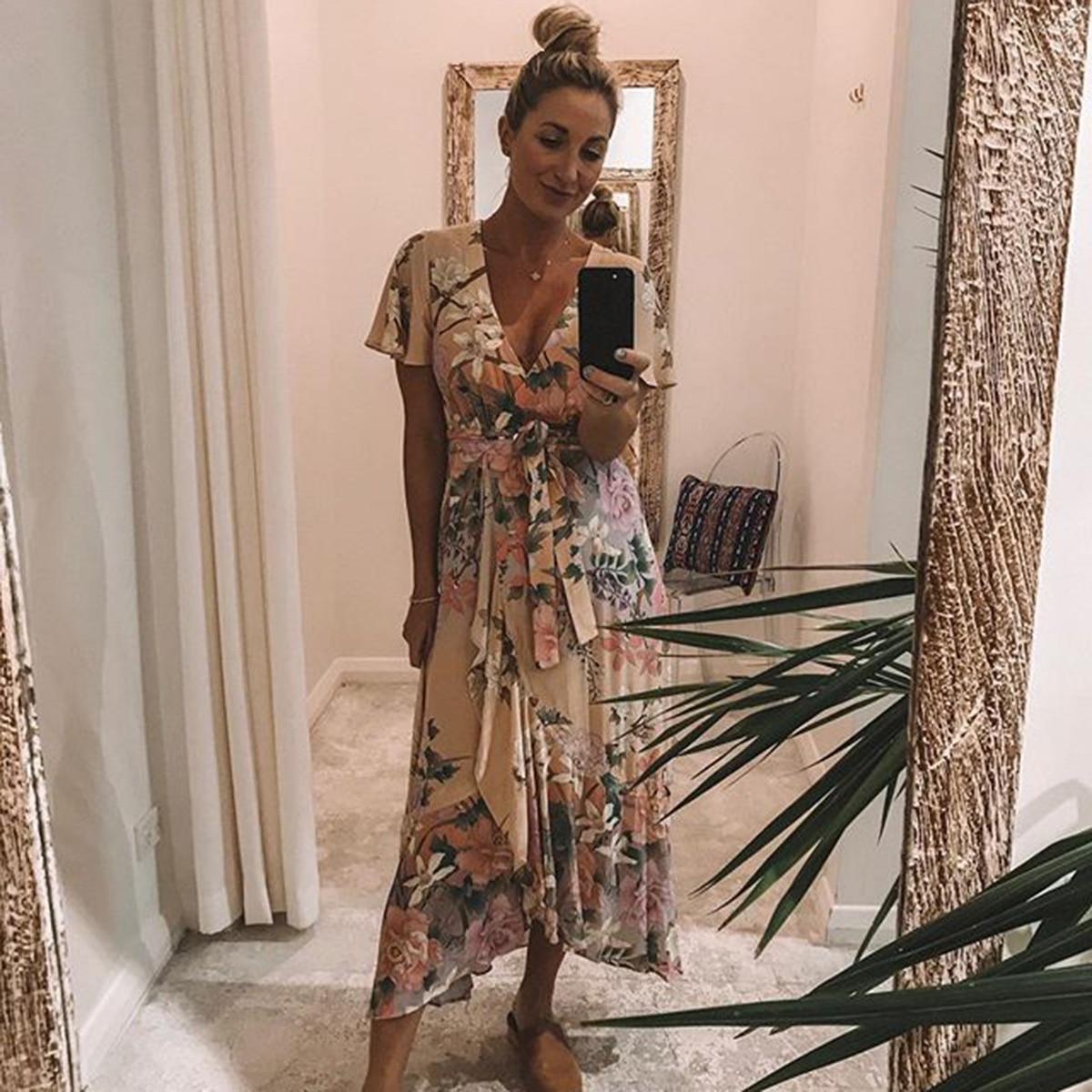 0b4035bfd9e17 Jastie Ethereal Lily Maxi Dress V Neck Wrap Dresses Boho Chic Flounce Hem  Short Sleeve Summer Dress Casual Beach Women Dresses-in Dresses from  Women's ...