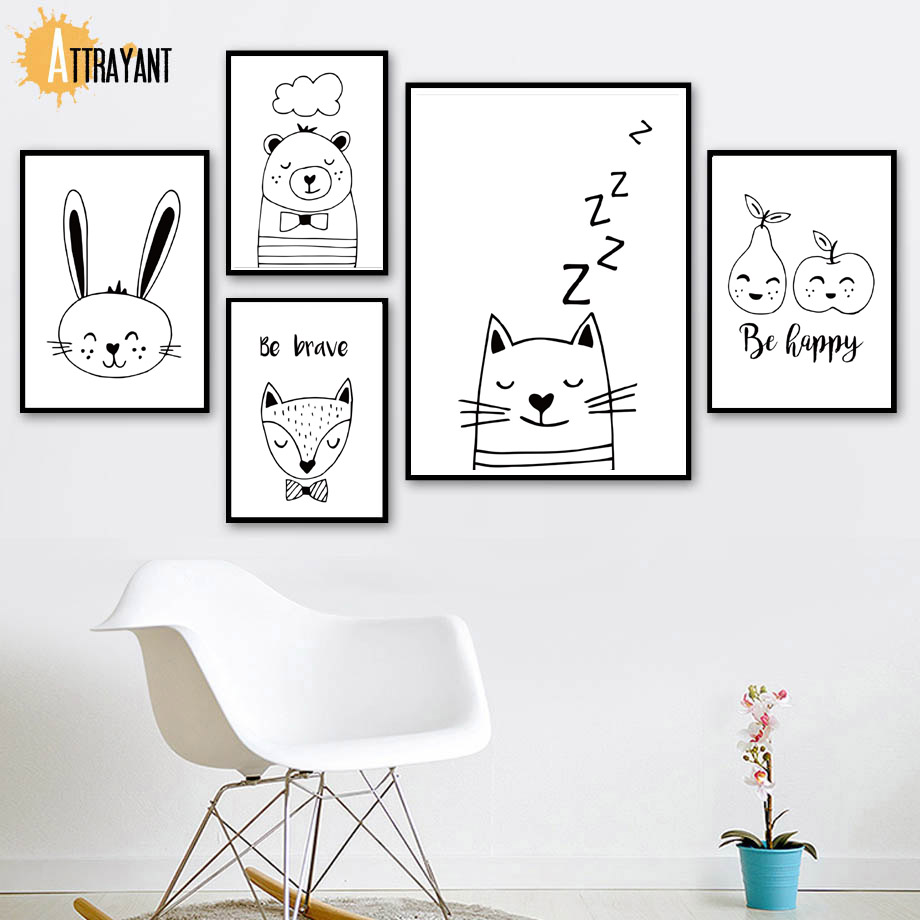 Apple Bear Rabbit Cat Wall Art Canvas Painting Nordic Posters And Prints Wall Pictures For Kids Bedroom Baby Boy Girl Room Decor