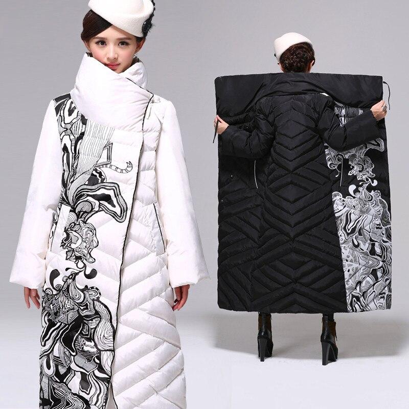 Белая зимняя куртка на утином пуху, Женская длинная куртка выше колена, женский толстый пуховик, Свободное пальто, парка размера плюс, 3XL, C2497