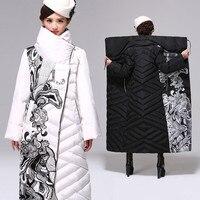 Белая утка вниз зимняя куртка Для женщин выше колена длинная куртка женские толстые Для женщин пуховик Свободные пиджаки куртка плюс Разме