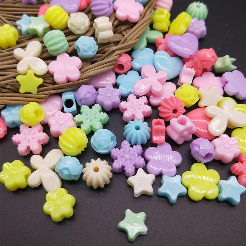 50pcs Variety Styles Mixed Color Beads Flower/Butterfly/Heart/snowflake/Stars DIY Necklace Bracelet Accessories Kids Beaded Toys