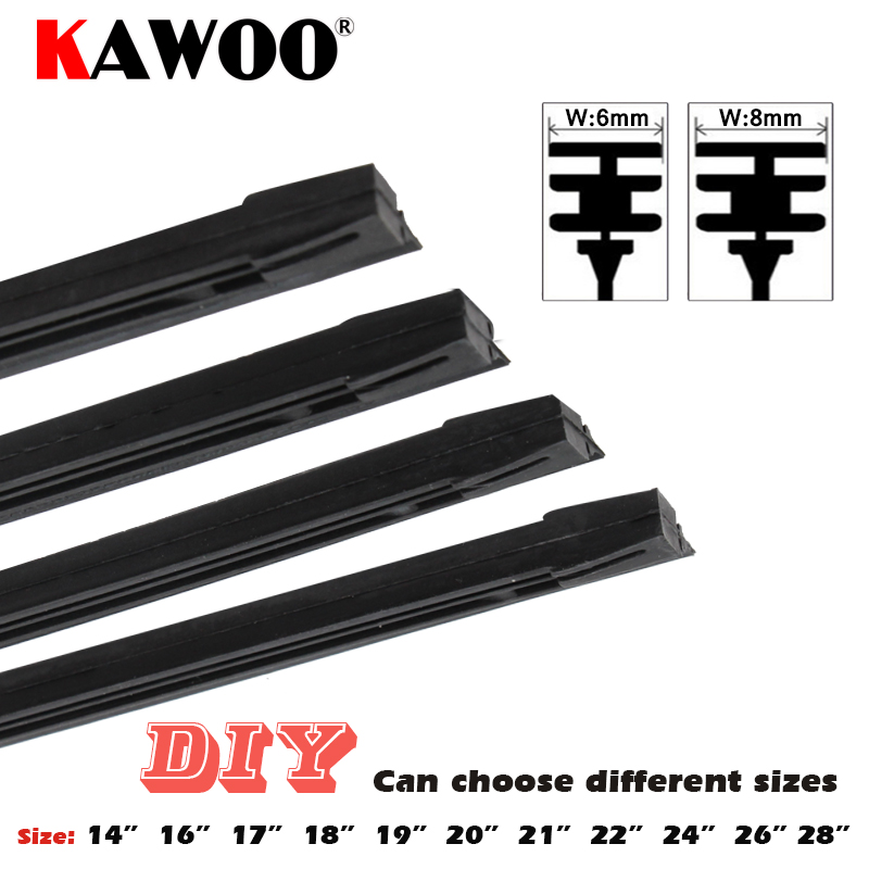 "KAWOO 1pcs Car Insert Rubber Strip Wiper Blade (Refill) 8mm/6mm Soft 14"" 16"" 17"" 18"" 19"" 20"" 21"" 22"" 24"" 26"" 28"" Accessories(China)"