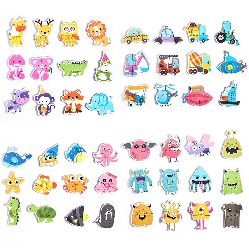 12pcs Paper Jigsaw Puzzles Game Baby Cartoon Early Education For Kids Toys Match Puzzle Toys Kids Early Learning Cognitive Toys