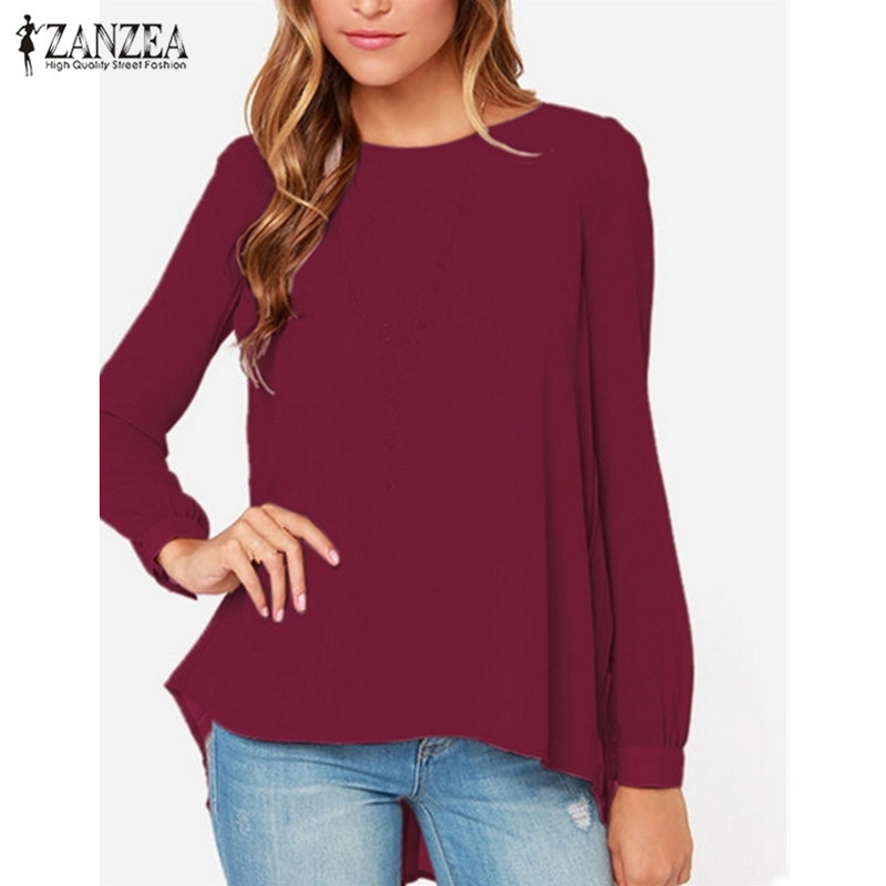ZANZEA Women Blouses 2020 Sexy Casual Loose Chiffon Tops Long Sleeve Oversized Solid Shirts Autumn Blusas Plus Size