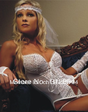 6893b83026b On Sale Female sexy white bridal Lingerie Sets with Stockings Full Set  Wedding Camisole langerie Garter Belt Exotic Intimate