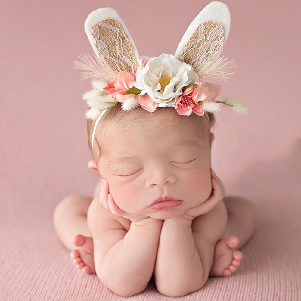coelho bebe recem nascido foto props infantil fotografia aniversario headwear criancas flor coroa de flores de
