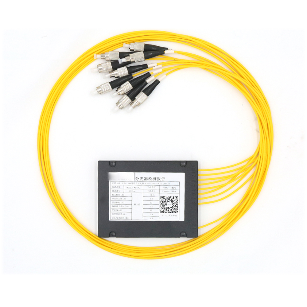 FC/UPC 1x8 FBT Fiber Optic Splitter 1310/1550nm Singlemode, PLC Splitter Module SM 1M, High Reliability