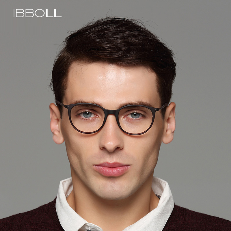 08f95f68a3 ibboll Luxury Top Brand Mens Glasses Frame Optical Round Eyeglasses Frames  Men Transparent Eyewear Spectacles Frames Male S6077-in Eyewear Frames from  ...