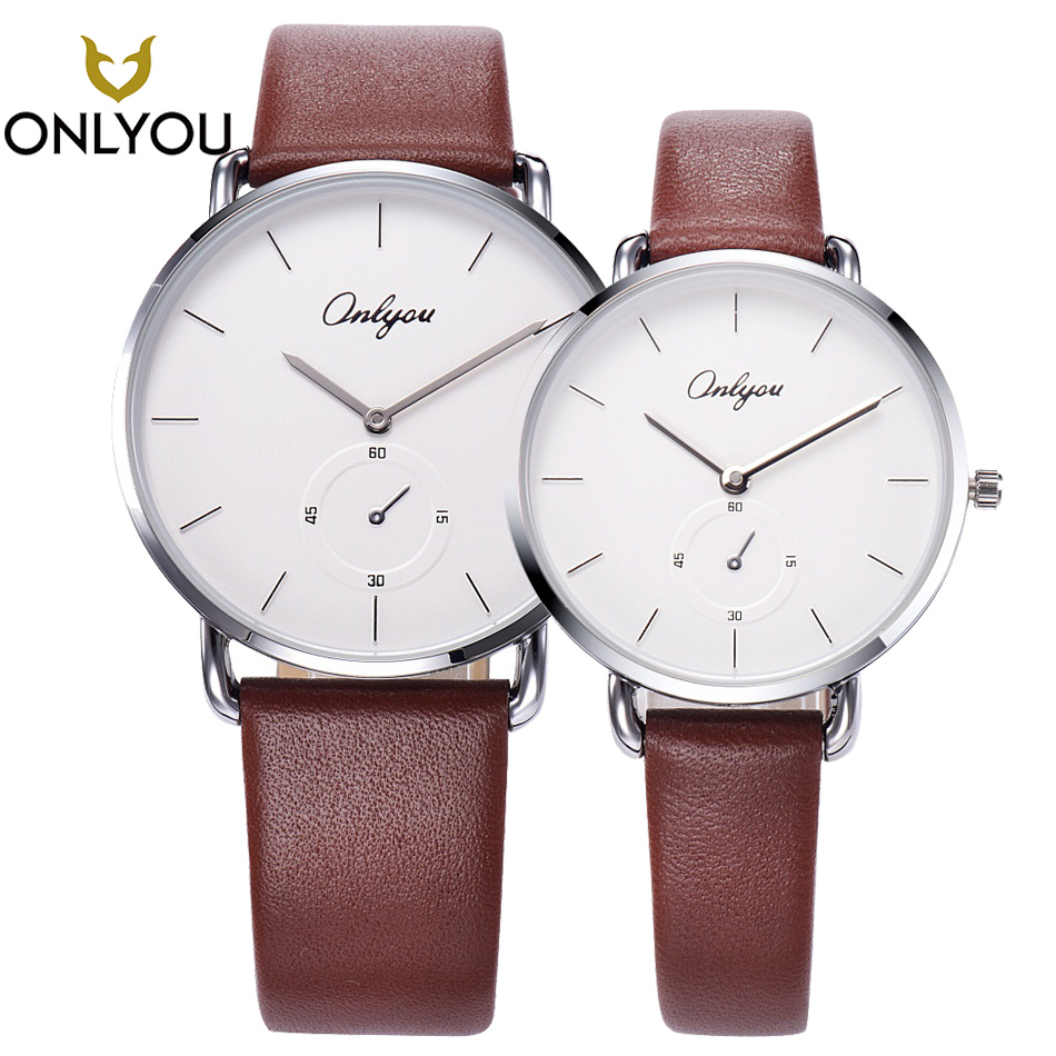 ONLYOU 2PCS Black Men Watches Top Brand Luxury Quartz Waterproof Watch Genuine Leather Women Fashion Casual Lovers Wristwatch купить недорого в Москве